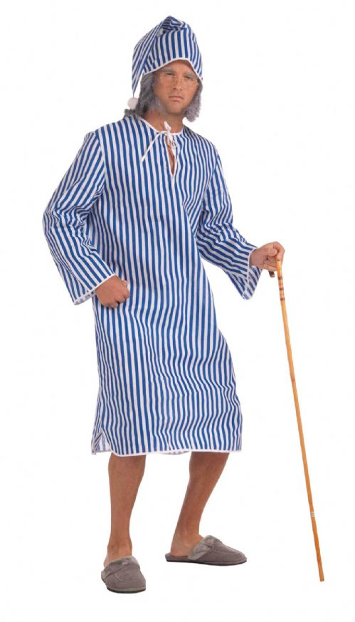 Mens Scrooge Nightshirt + Cap Costume Scroodge Dickens Christmas Fancy Dress